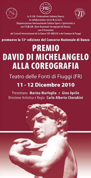 2007 - PREMIO DAVID DI MICHELANGELO alla coreografia più originale. FID (Federazione Italiana Danza) Concorso Nazionale Giovani Coreografi. Teatro delle Fonti – Fiuggi